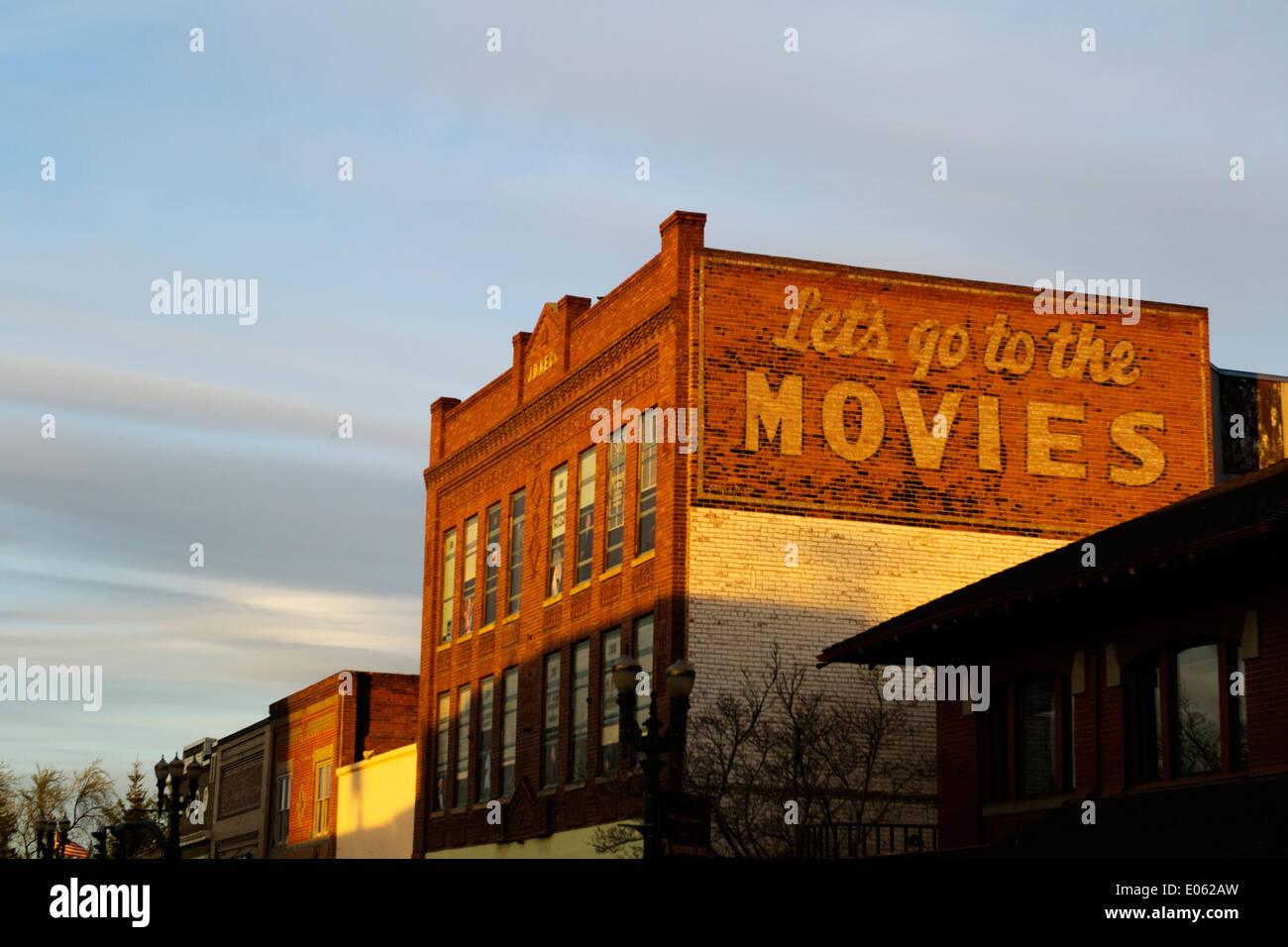gehen Sie wir zum alten Zeit Kino Filme Stockbild