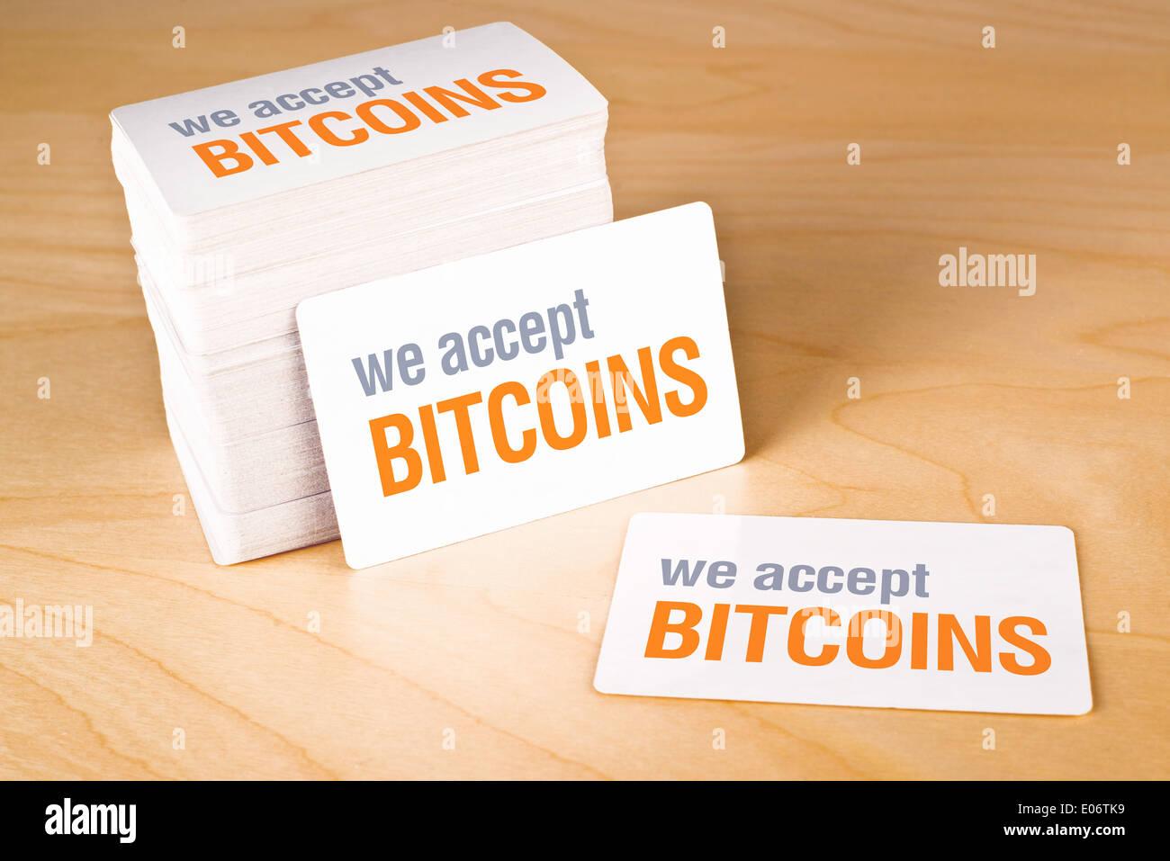 Wir Akzeptieren Bitcoins Visitenkarten Mit Abgerundeten