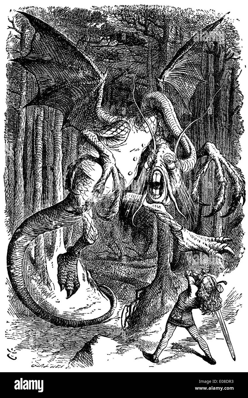 Illustration zu dem Gedicht Jabberwocky von englischen Illustrator Sir John Tenniel Stockbild