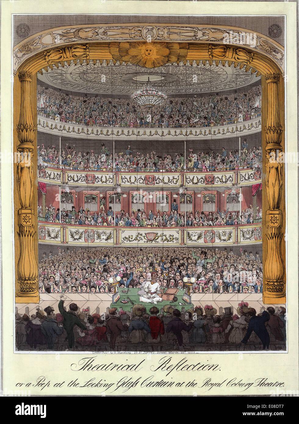 Historischen Drucken von Royal Coburg Theatre, The Old Vic Theatre, London, England, UK Stockbild