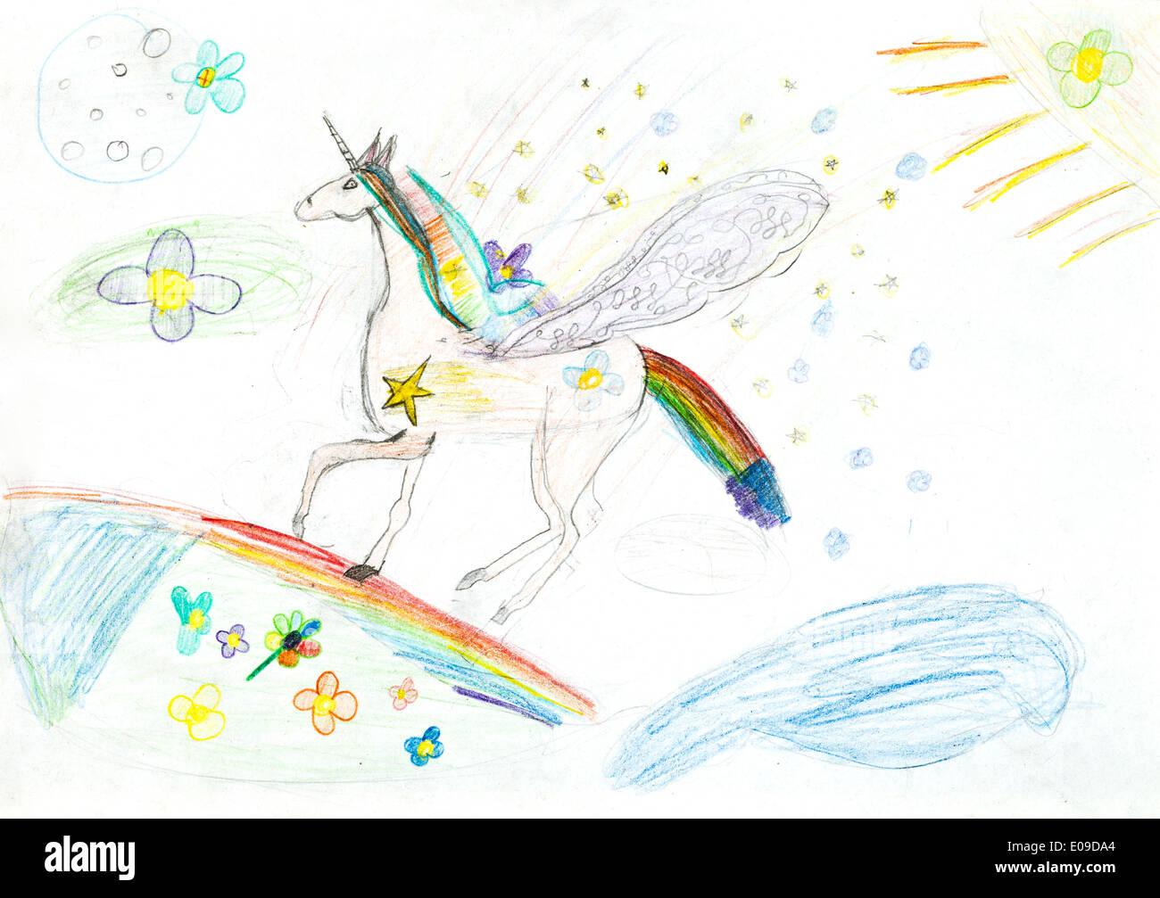 Kinder Zeichnen Marchenhafte Einhorn Auf Regenbogen Fliegen