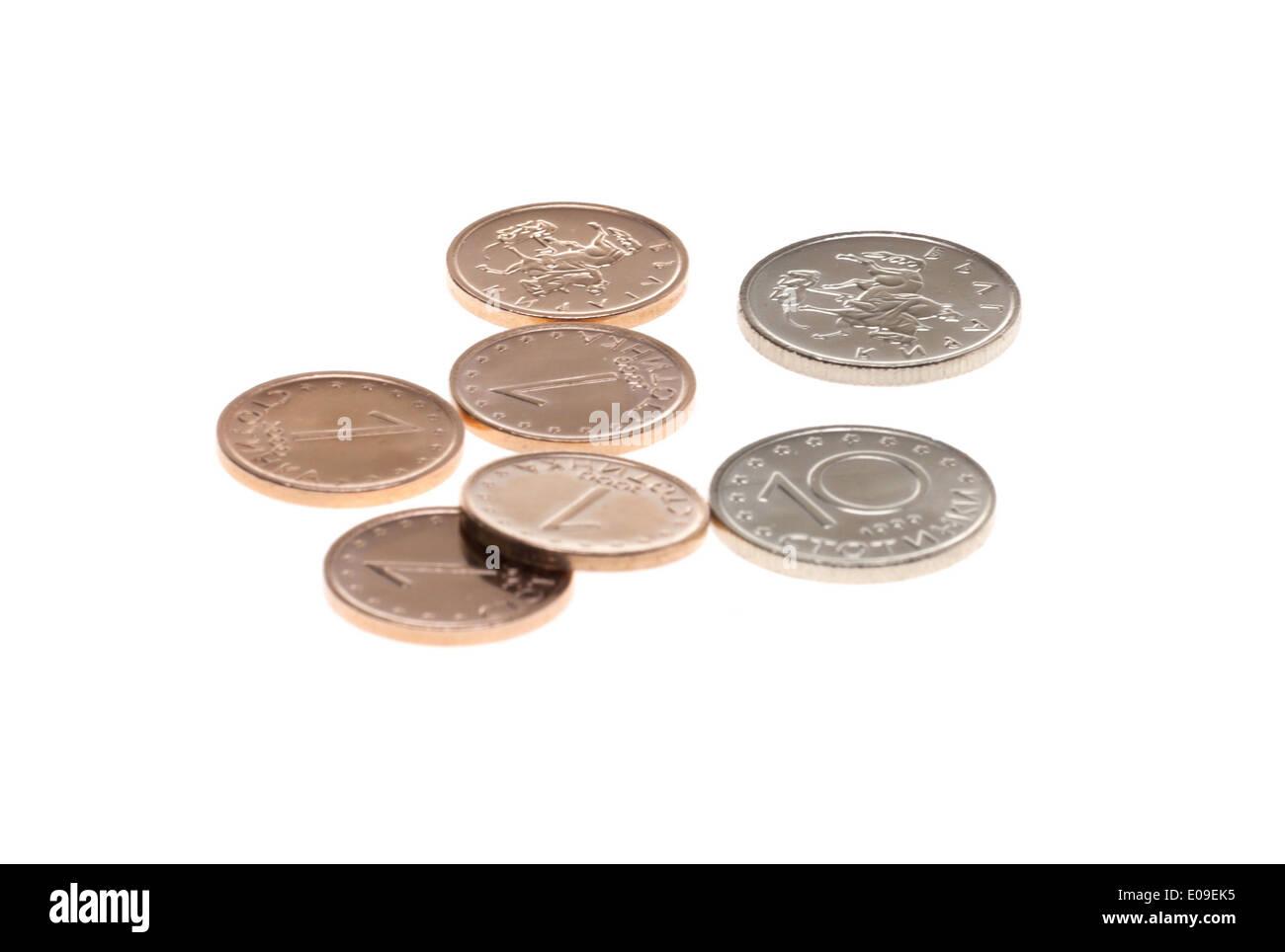 Bulgarische Münzen Isoliert Auf Weißem Hintergrund Stockfoto Bild
