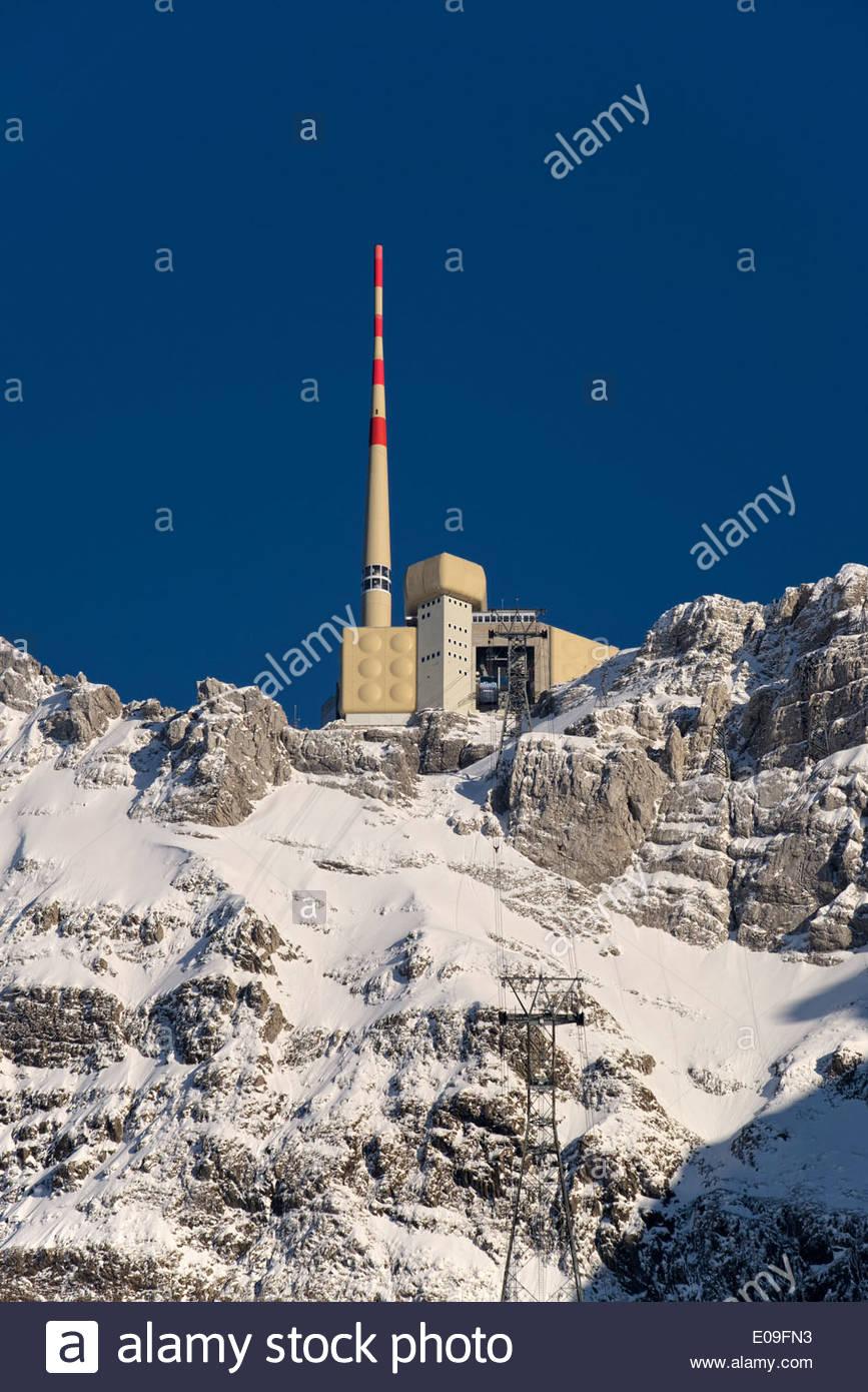 Schweiz, Kanton Appenzell Ausserrhoden, Mountain Station Säntis Stockbild