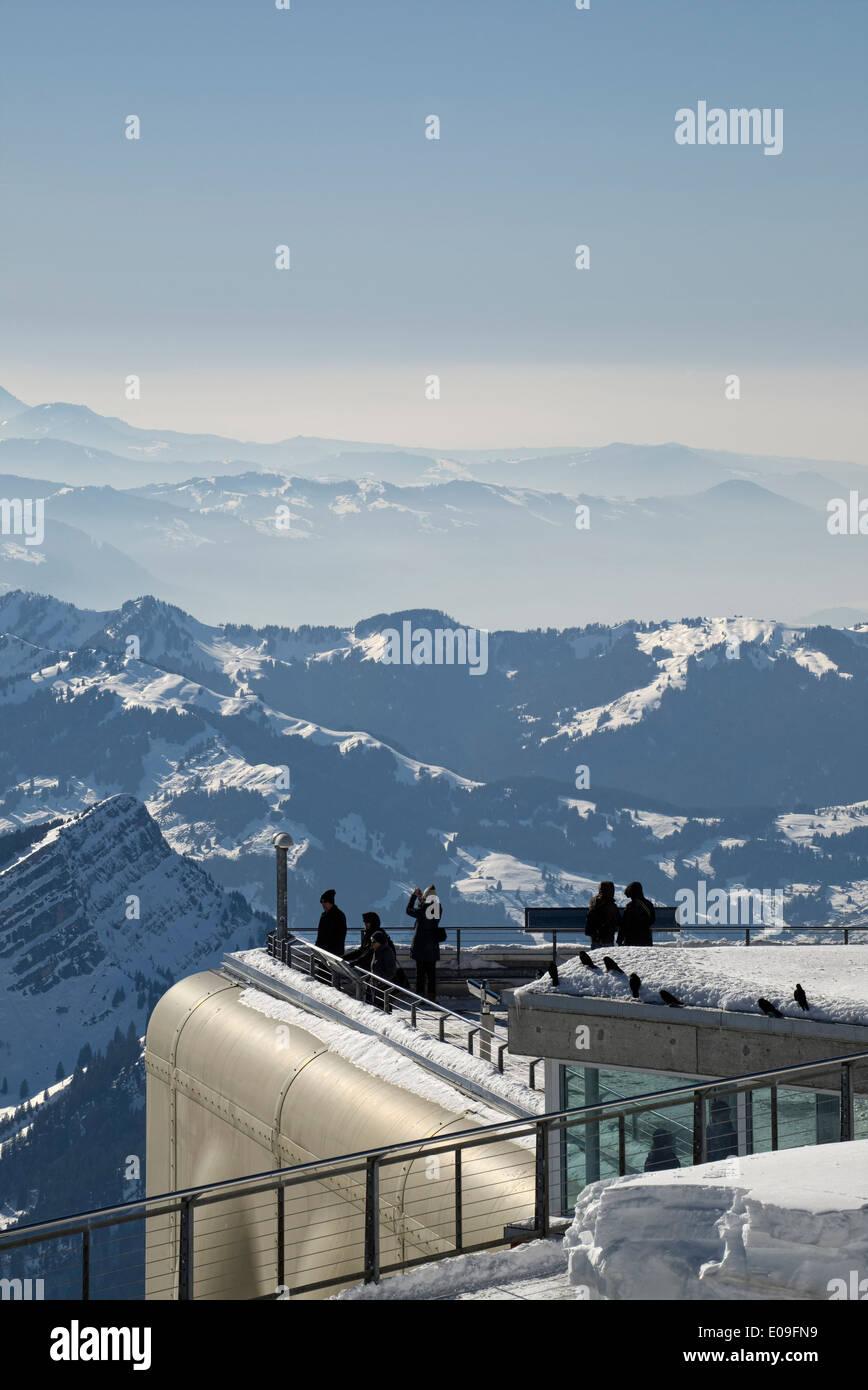 Schweiz, Kanton Appenzell Ausserrhoden, Aussichtsplattform, Säntis Stockbild
