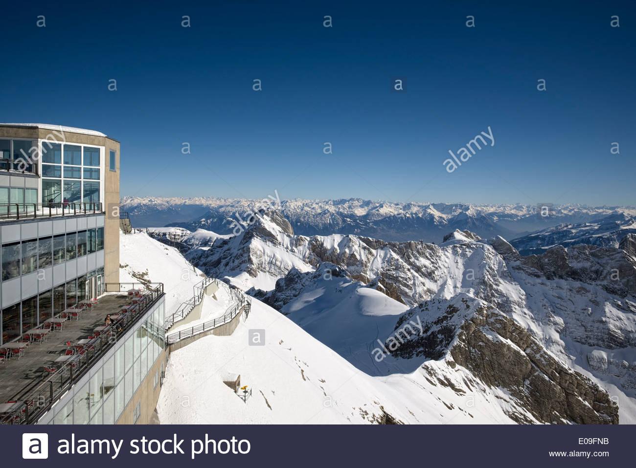 Schweiz, Kanton Appenzell Ausserrhoden, Aussichtsterrasse, Säntis Stockbild