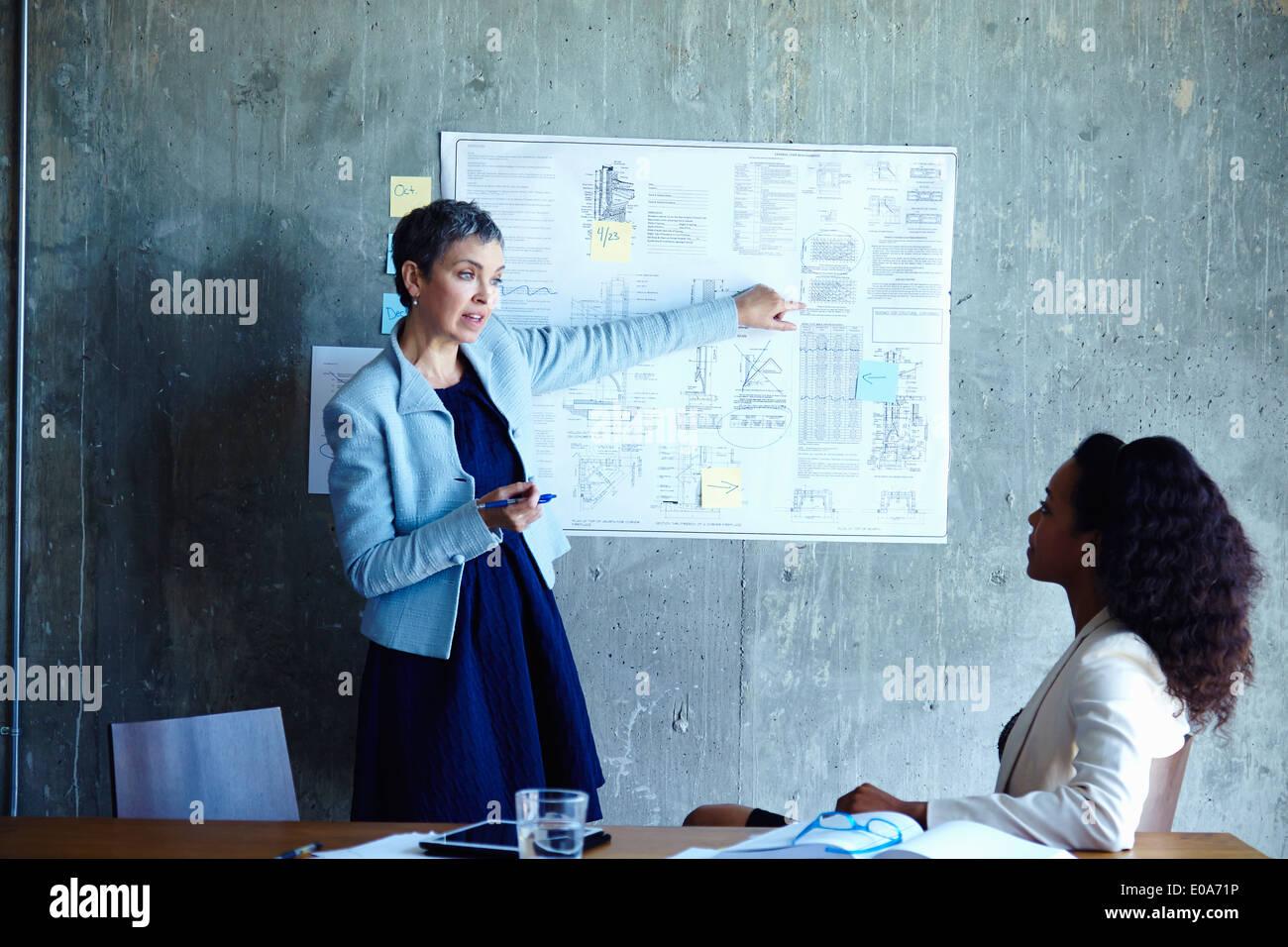 Reife Geschäftsfrauen, die Ideen der Tagung zu präsentieren Stockbild