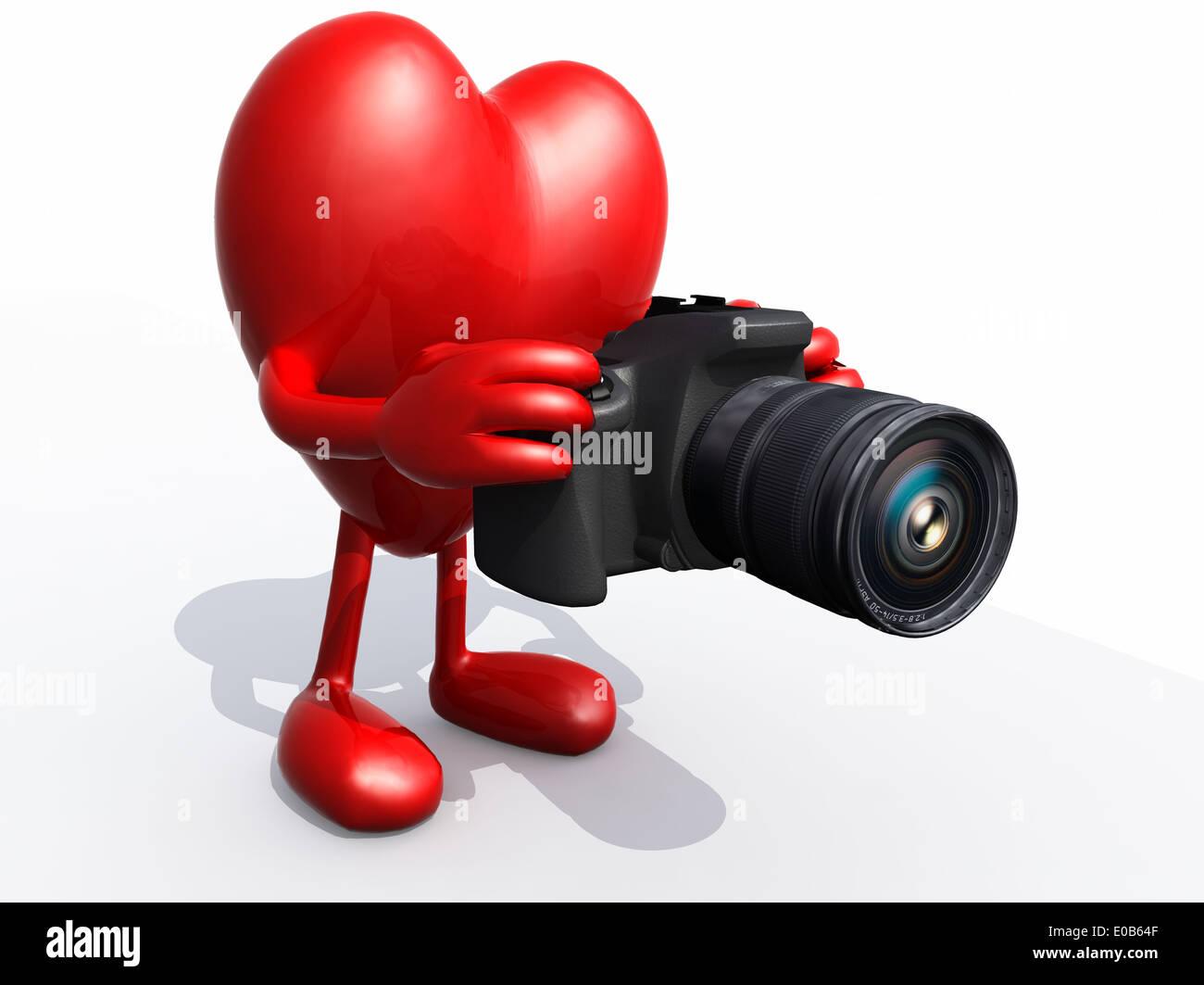 Herz mit Arme, Beine, Augen und digitale Foto-Kamera während Rahmung ...