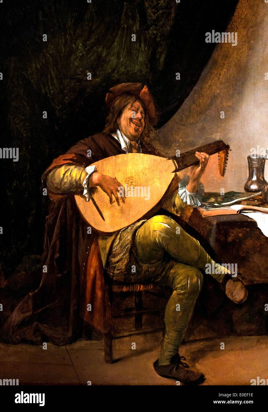 Selbstporträt, spielen die laute 1663-65 von Jan Havicksz (Havickszoon) Steen 1626-1679 Niederlande Niederlande Stockbild