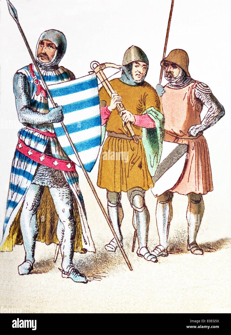 Die Engländer, die hier vertreten sind: ein Ritter im Jahre 1333, ein Bogen-Mann im Jahre 1376 und ein Ritter. Stockbild