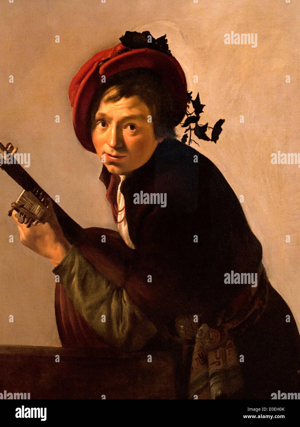 Junger Mann spielen laute 1625 Jan Hermansz van Bijlert 1597-1671 Niederlande Niederlande Stockbild