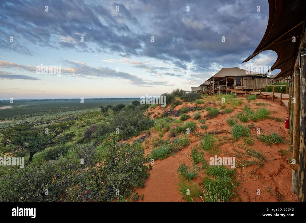 Polentswa Tented Camp, Kgalagadi Transfrontier Park, Kalahari, Südafrika, Botswana, Afrika Stockbild