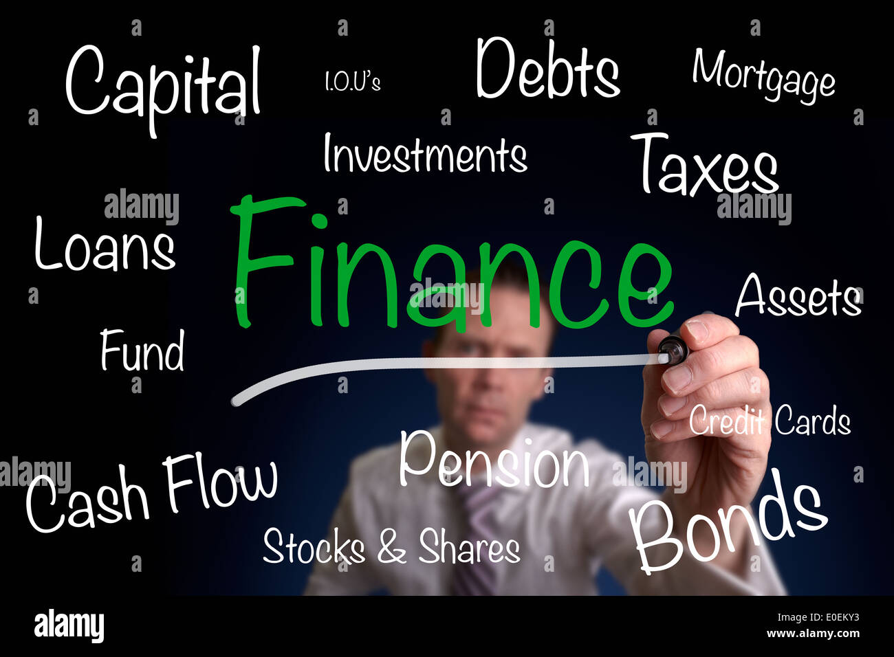 Ein Geschäftsmann, ein Finanzkonzept auf einem Bildschirm zu zeichnen. Stockbild