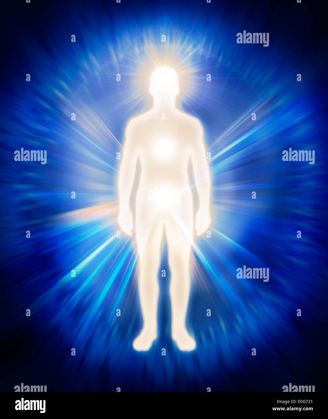 Mann feinstofflicher Körper Energie Emanationen. Leuchtende Mensch, Aura, spirituelle konzeptionelle Darstellung Stockbild