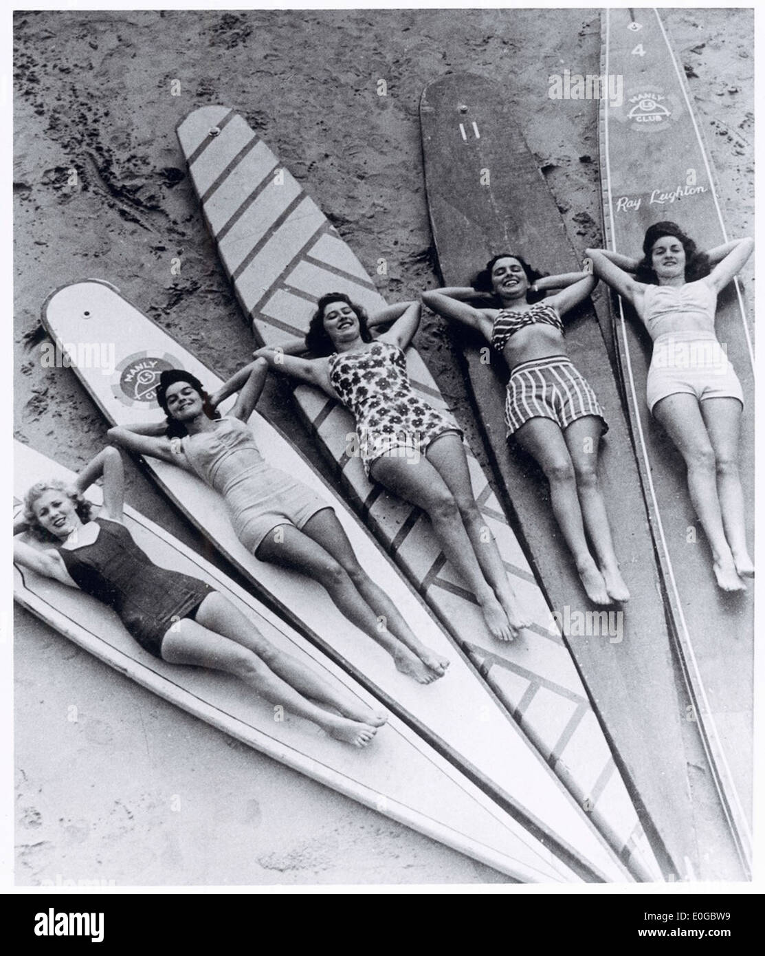 Surfen Sie Sirenen, Manly Beach, New South Wales, 1938-46 Stockbild