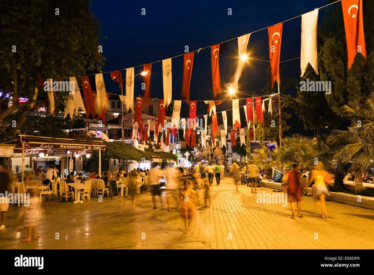 KAS in der Nacht, Nachtleben, Lykische Küste, Lykien, Mittelmeer, Türkei, Asien Stockbild