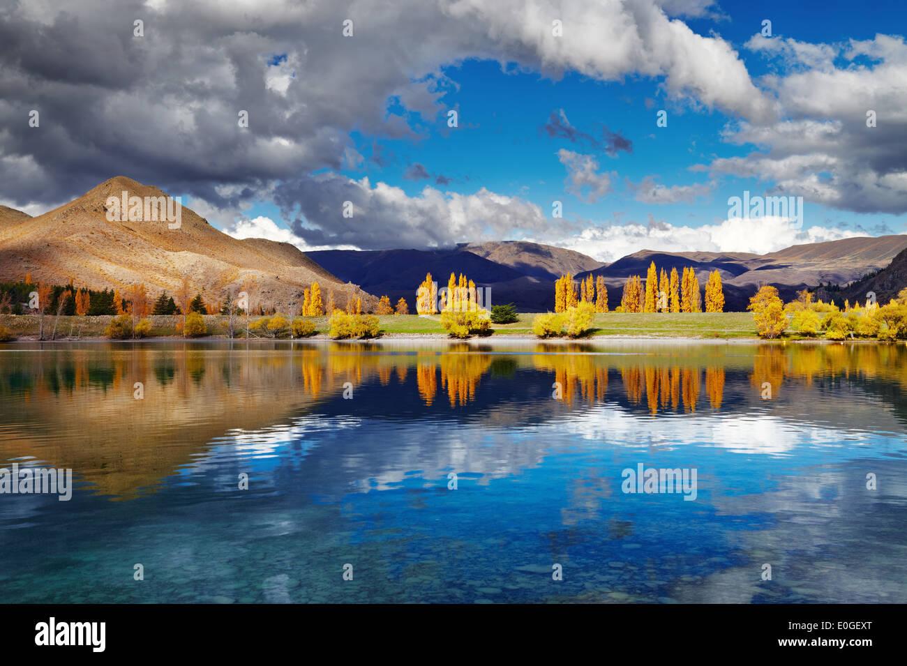 Berglandschaft in herbstlichen Farben, Lake Benmore, Neuseeland Stockbild