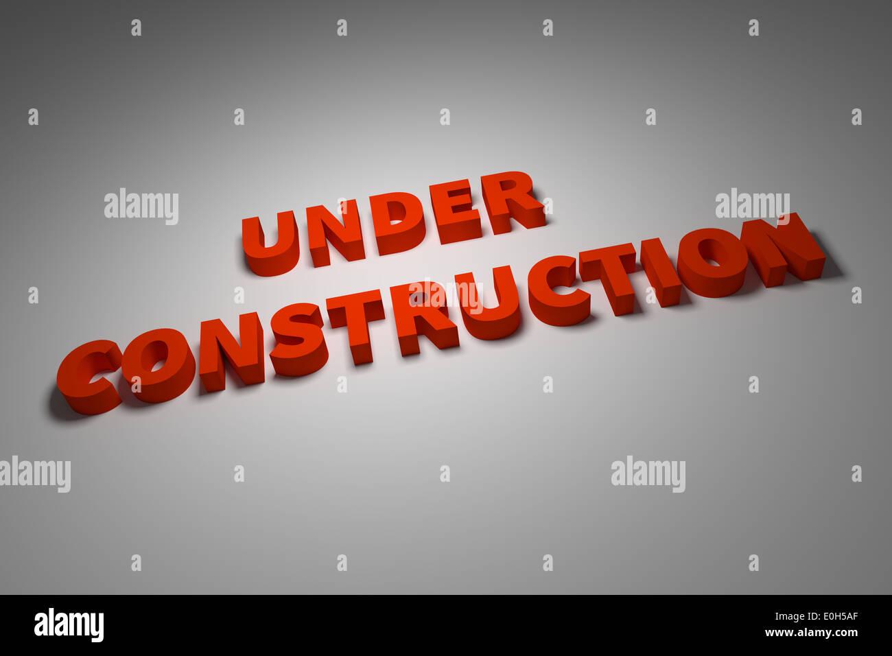 unter Bau Zeichen 3d illustration Stockbild