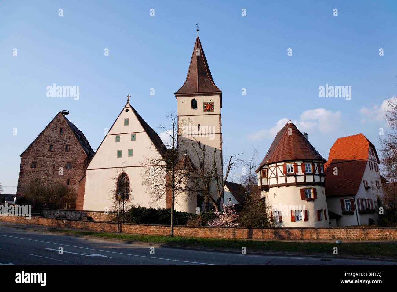 Deutschland, Baden-Württemberg, Merklingen (Weil der Stadt), Kirchenburg, Häuser Stockbild