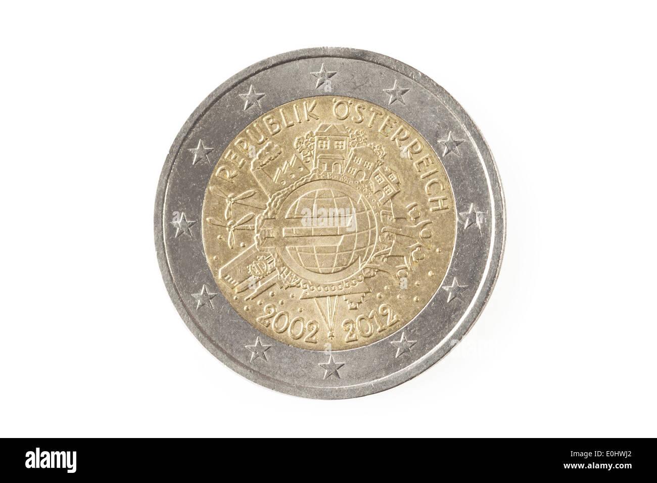 Rückseite Eine österreichische Zwei Euro Münze Isoliert Auf Weißem