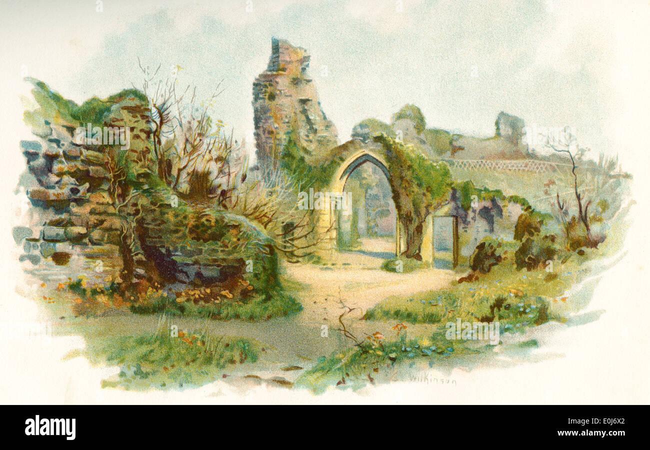 Hastings Castle, Hastings, East Sussex, England.  Einen Eindruck des 19. Jahrhunderts. Stockbild