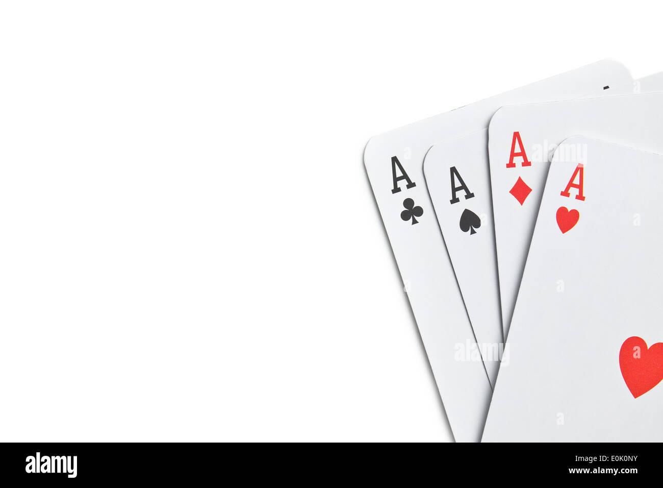 vier Asse auf weißem Hintergrund Stockfoto