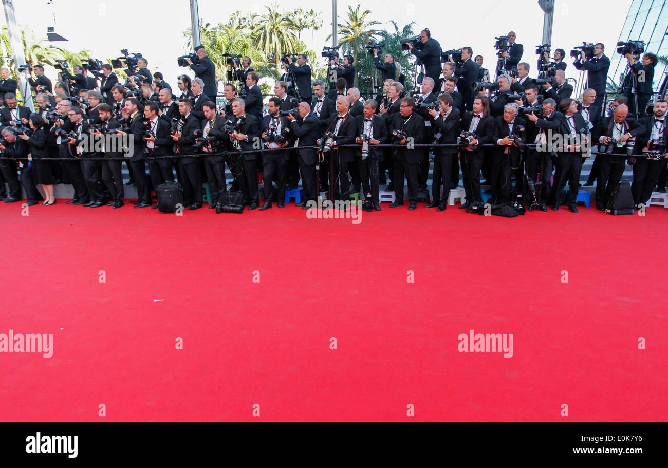 ROTEN Teppich Fotografen Herr TURNER PREMIERE 67. CANNES FILM FESTIVAL CANNES Frankreich 15. Mai 2014 Stockbild