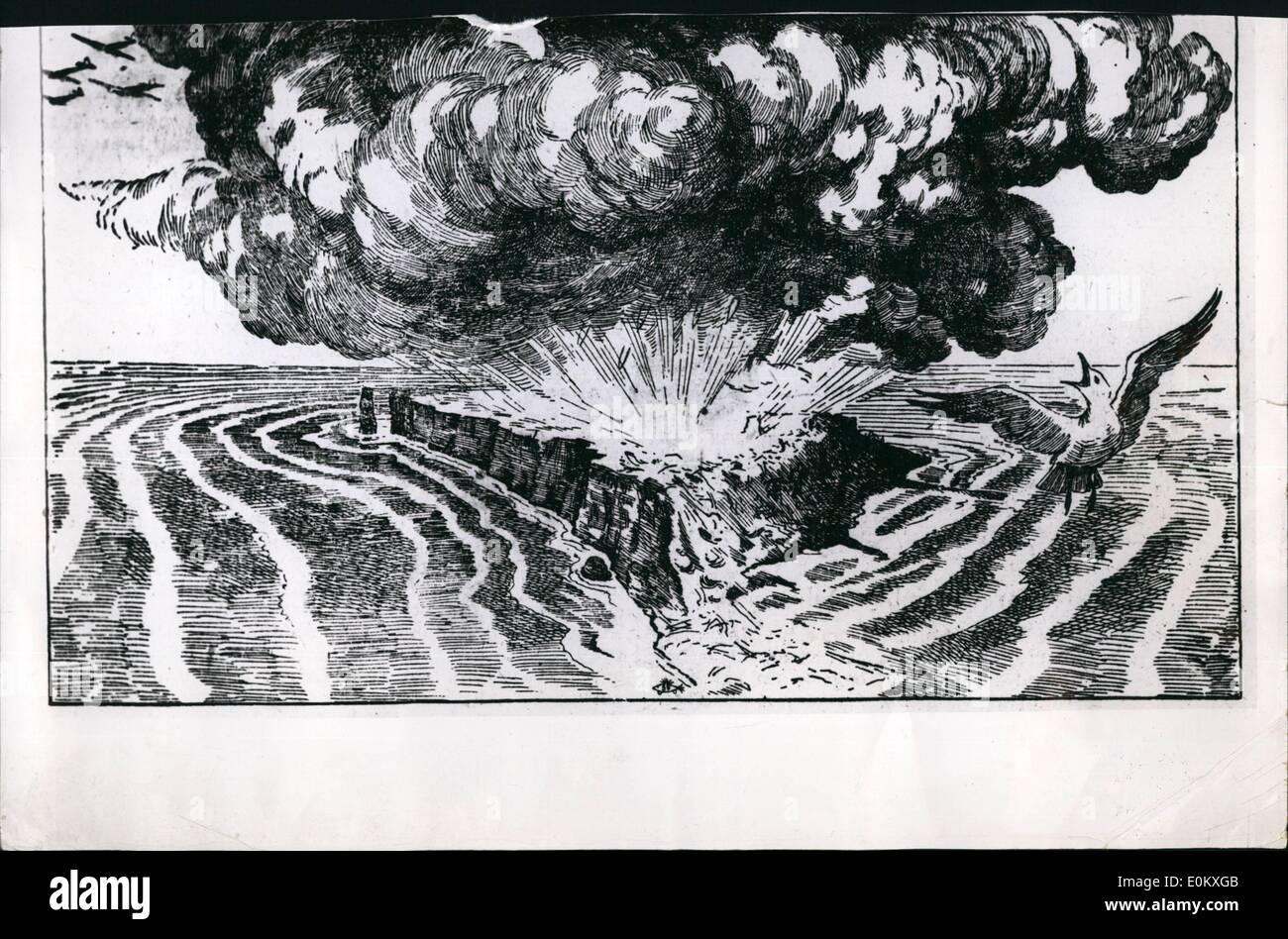 1. Januar 1951 - ist Bild des Künstlers auf die Ereignisse von der Detonation von Bomben auf Helgoland. Großbritannien hatte die Insel genutzt. Stockbild