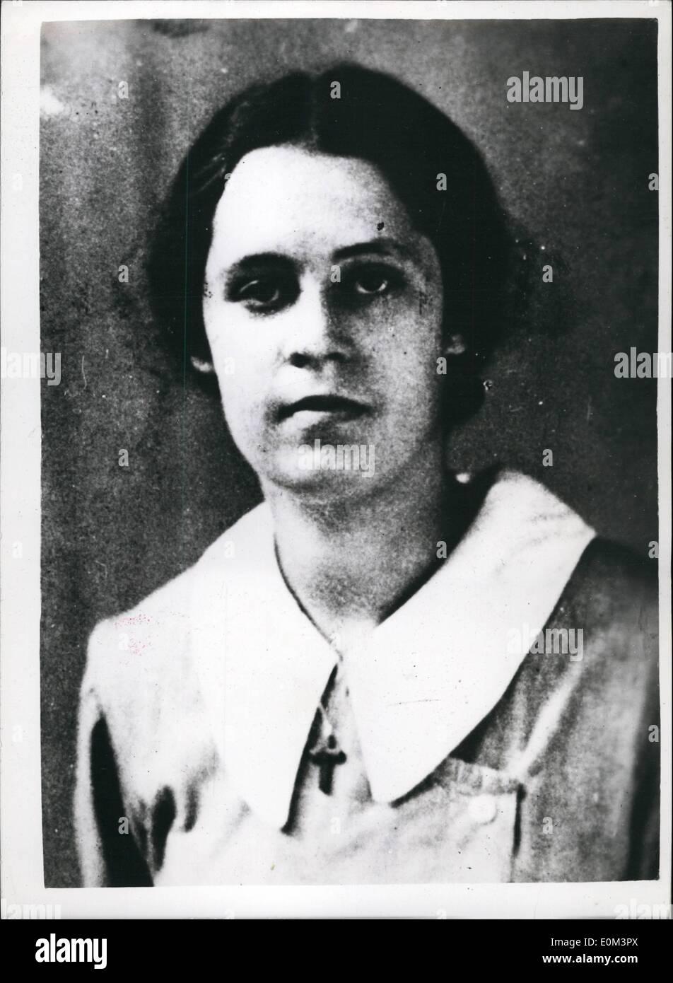 5. Mai 1953 - Scotland Yard Thema Frauenporträts fehlt... Kann mit Rillington Place - Notting Hill verbunden werden; Porträts von Scotland Yard von zwei vermissten Frauen ausgestellt worden - sie haben mehr als acht Jahre lang gefehlt. Sie sind Ruth Fuerst, wurde 1922 in Wien geboren und kam nach England im Jahre 1939- und Muriel Eady, die 32, als sie im Oktober 1944 verschwunden war, und für die Ultra Radio Company gearbeitet. Die Polizei glaubt, dass ihr Schicksal mit der Feststellung der beiden Skelette in den Garten Nr. 10 verbunden werden kann. Rillington Platz Stockbild