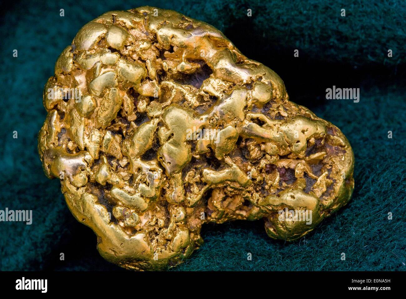 Eine Feinunze Kalifornien (USA) Placer Gold-Nugget - natürliche Gold Probe Stockbild