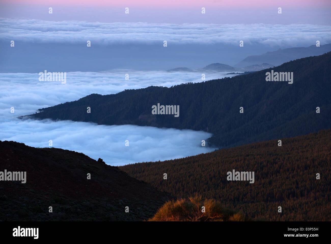 Blick über Valle De La Orotava aus Sicht Tf-24, Teneriffa Kanarische Stockbild