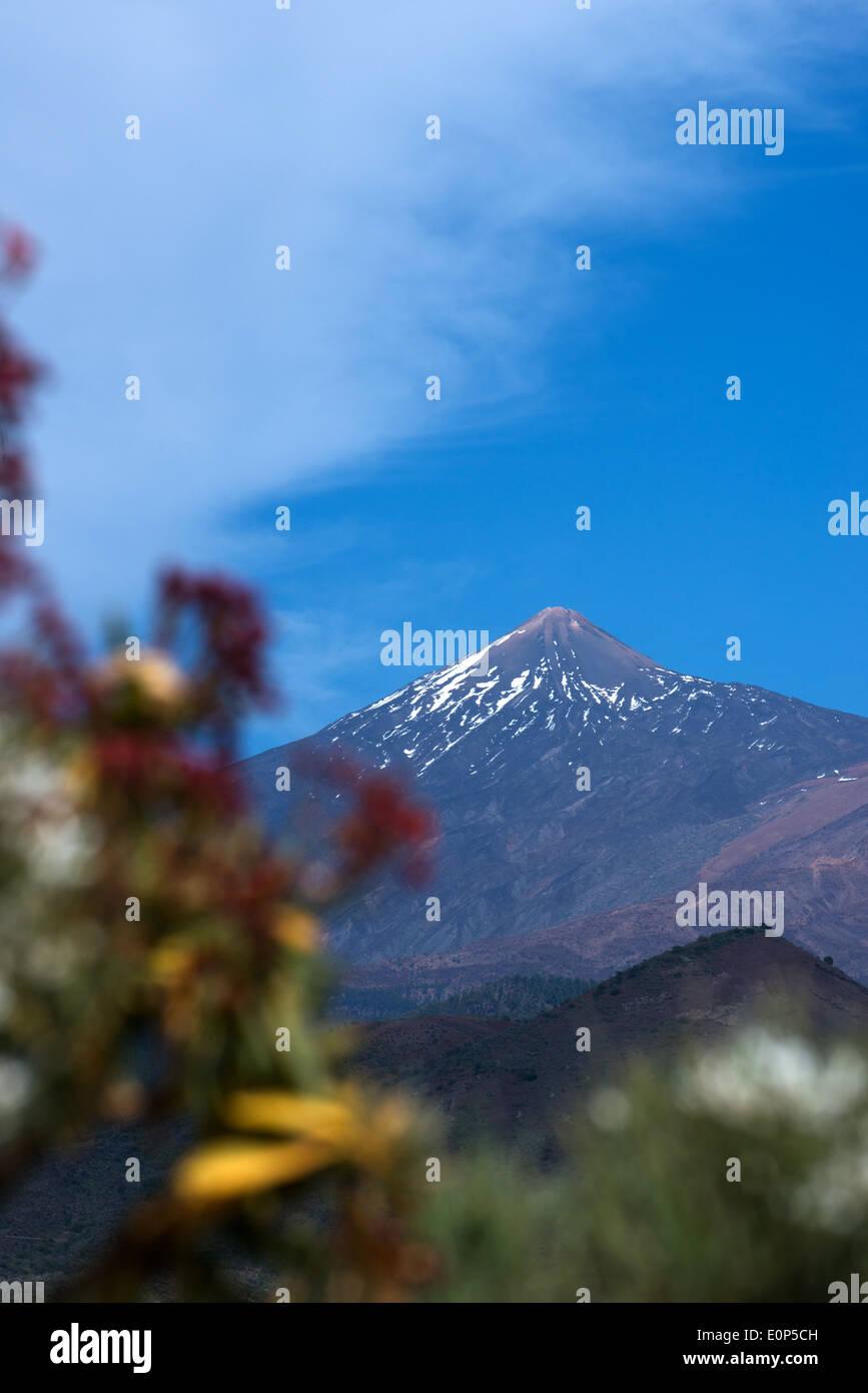 Vulkan Teide angesehen von den Teno-Gebirge Westküste Teneriffa Kanaren Stockbild