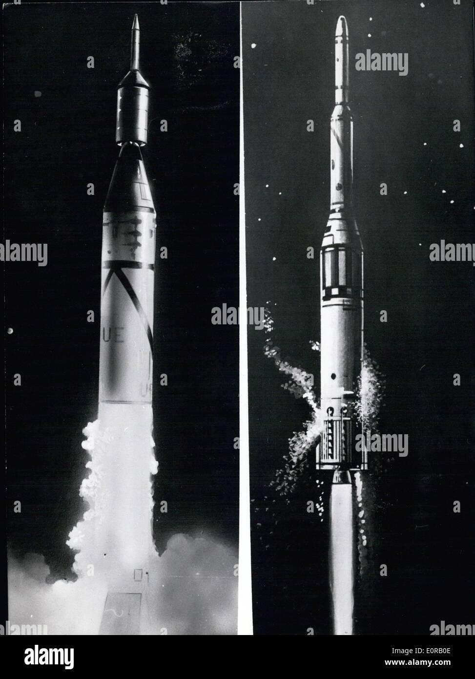 10. Oktober 1958 - Wernher von Braun neue Rakete: In sehr naher Zukunft, vielleicht zwischen 6. und 10. November Stockfoto