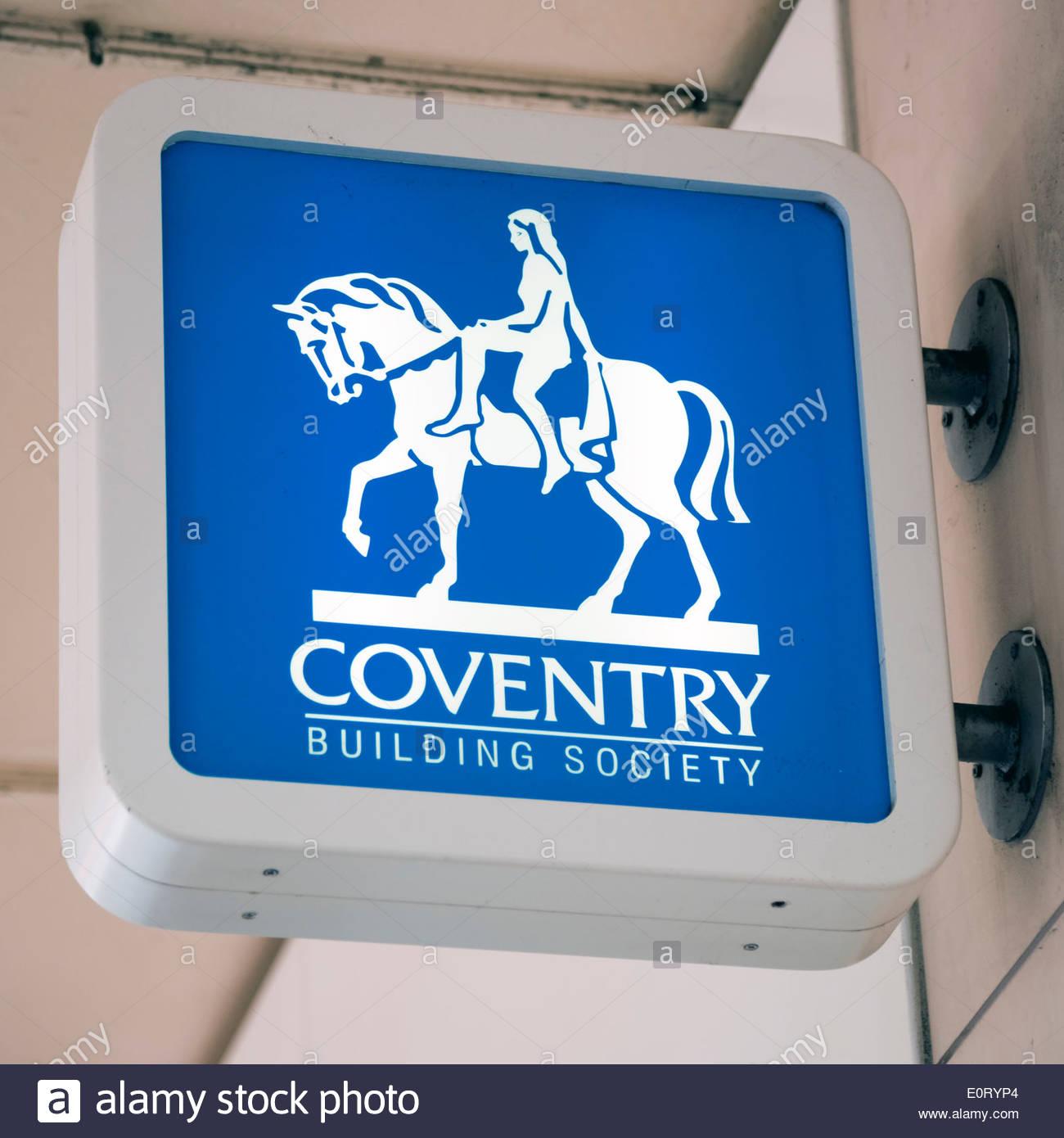 Coventry Building Society Zeichen im Stadtzentrum von Birmingham, UK. Stockbild