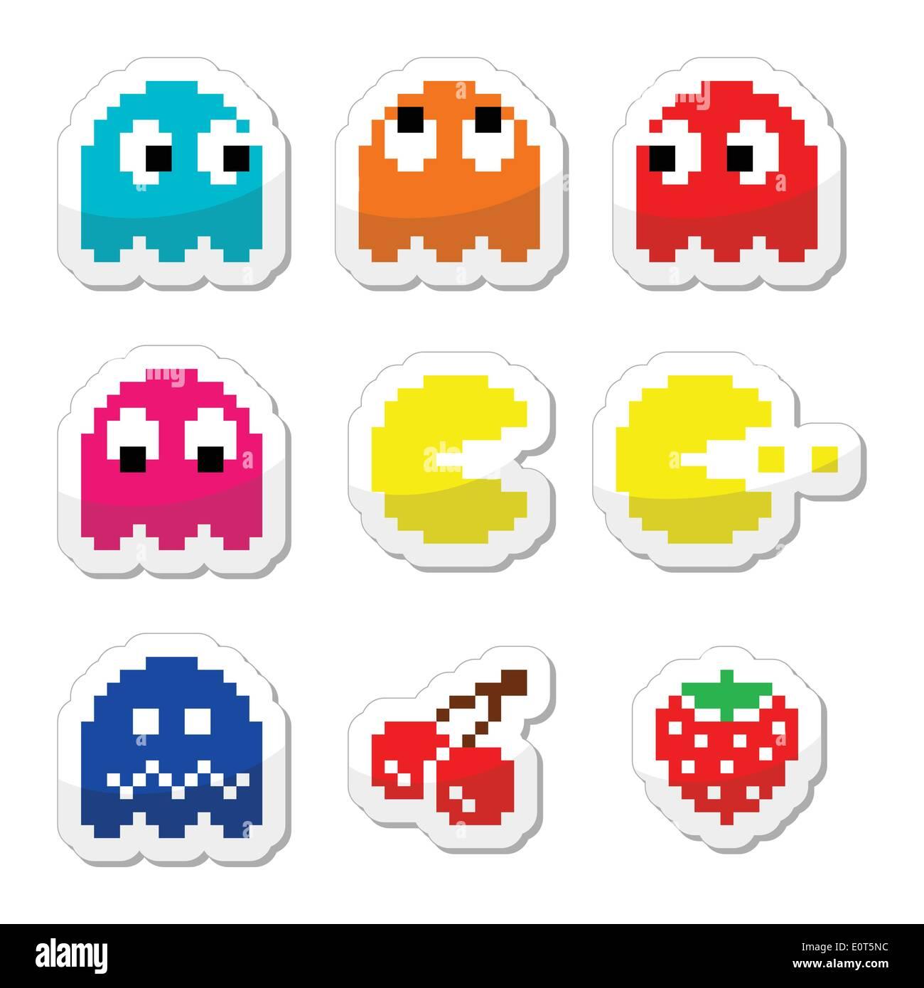 Pacman und Geister 80er Retro-Computer Spiel-icons Stockbild