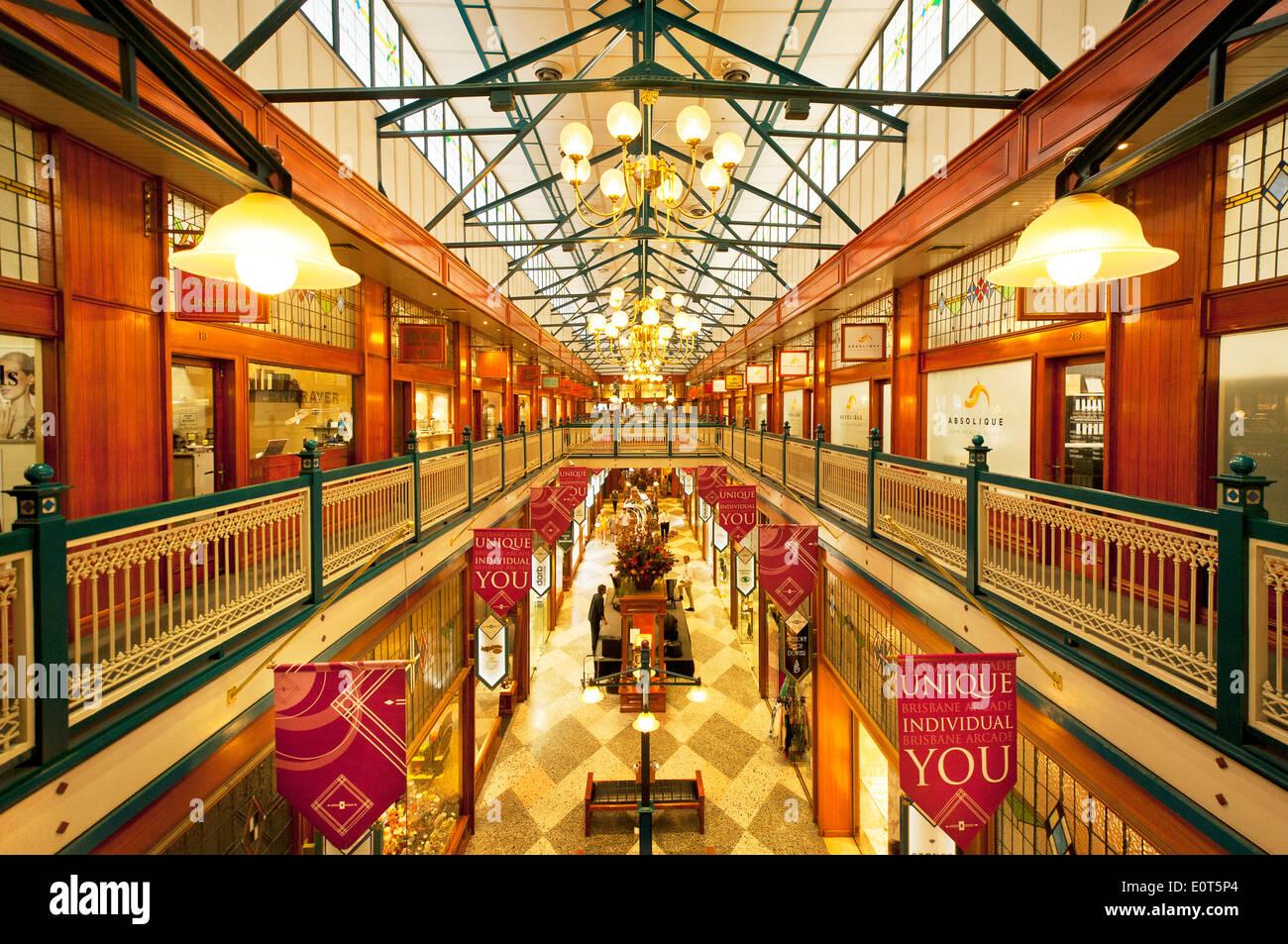 Blick ins Queen Street Arcade in Brisbane. Stockbild