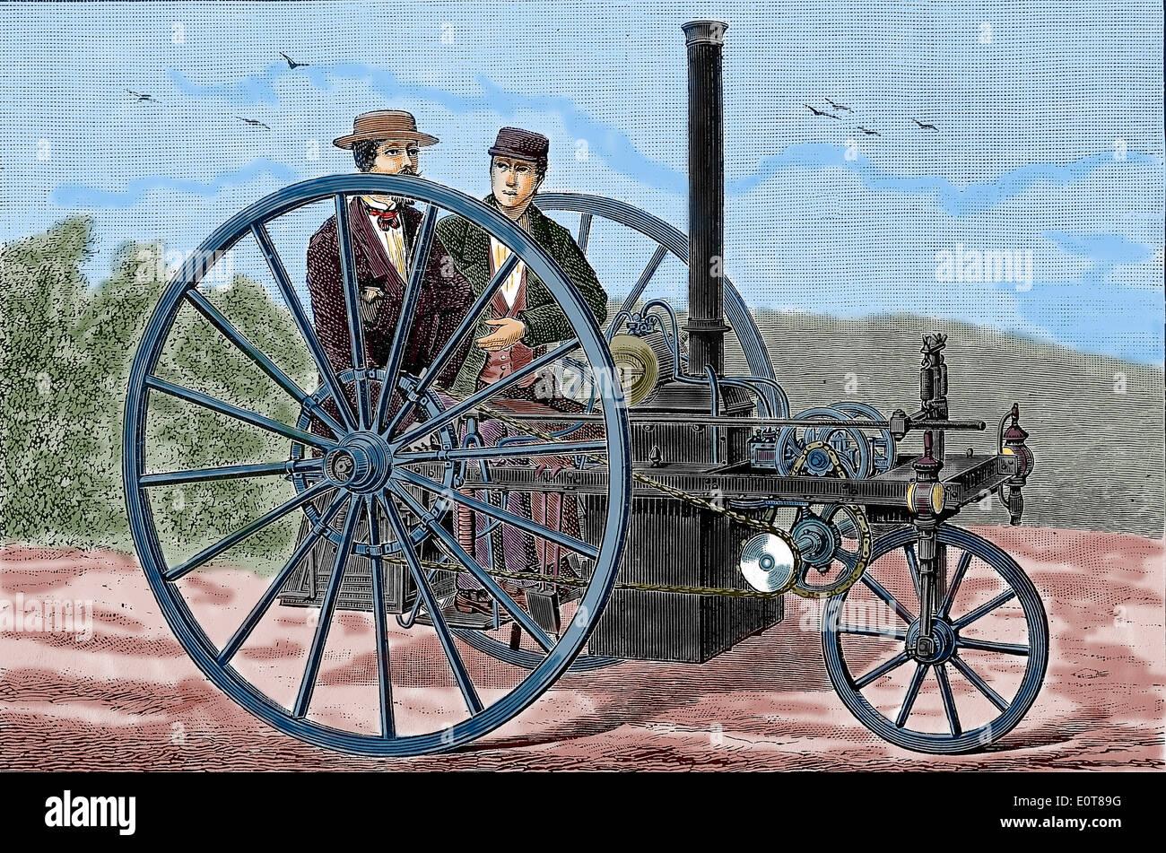 Geschichte des Automobils. Dampfgetriebene Radfahrzeuge. Kupferstich, 19. Jahrhundert. Spätere Färbung. Stockbild