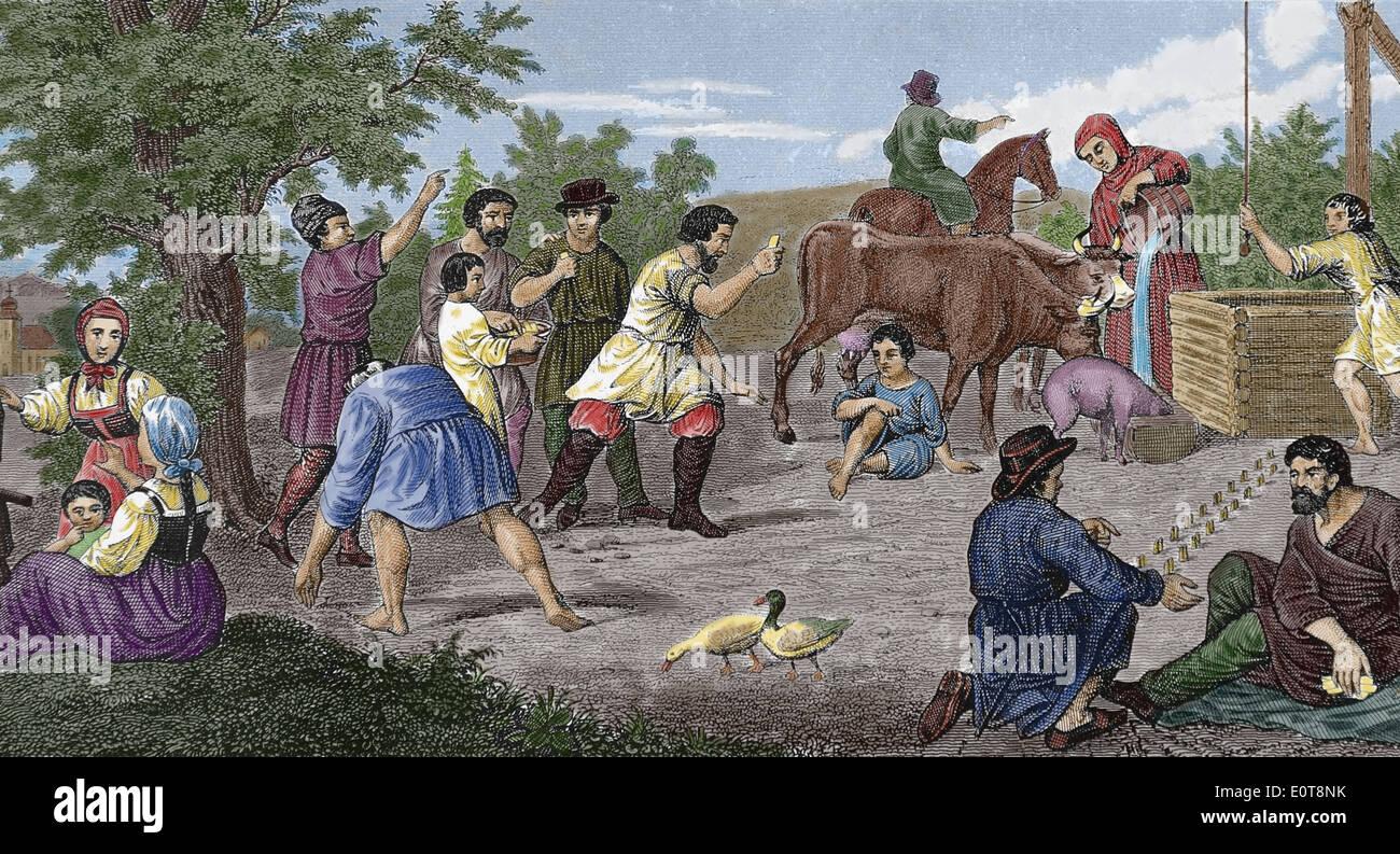 Geschichte. Ländliche Gesellschaft. Russische ländliche Spiele. des 19. Jahrhunderts. Gravur. (Spätere Färbung). Stockbild