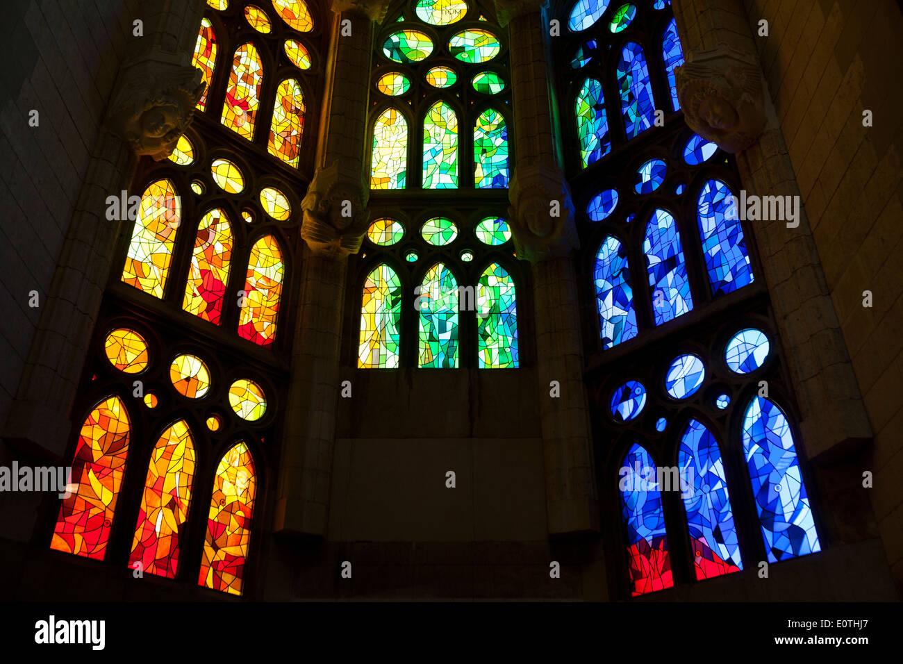 Windows der Basilika Sagrada Familia Stockbild