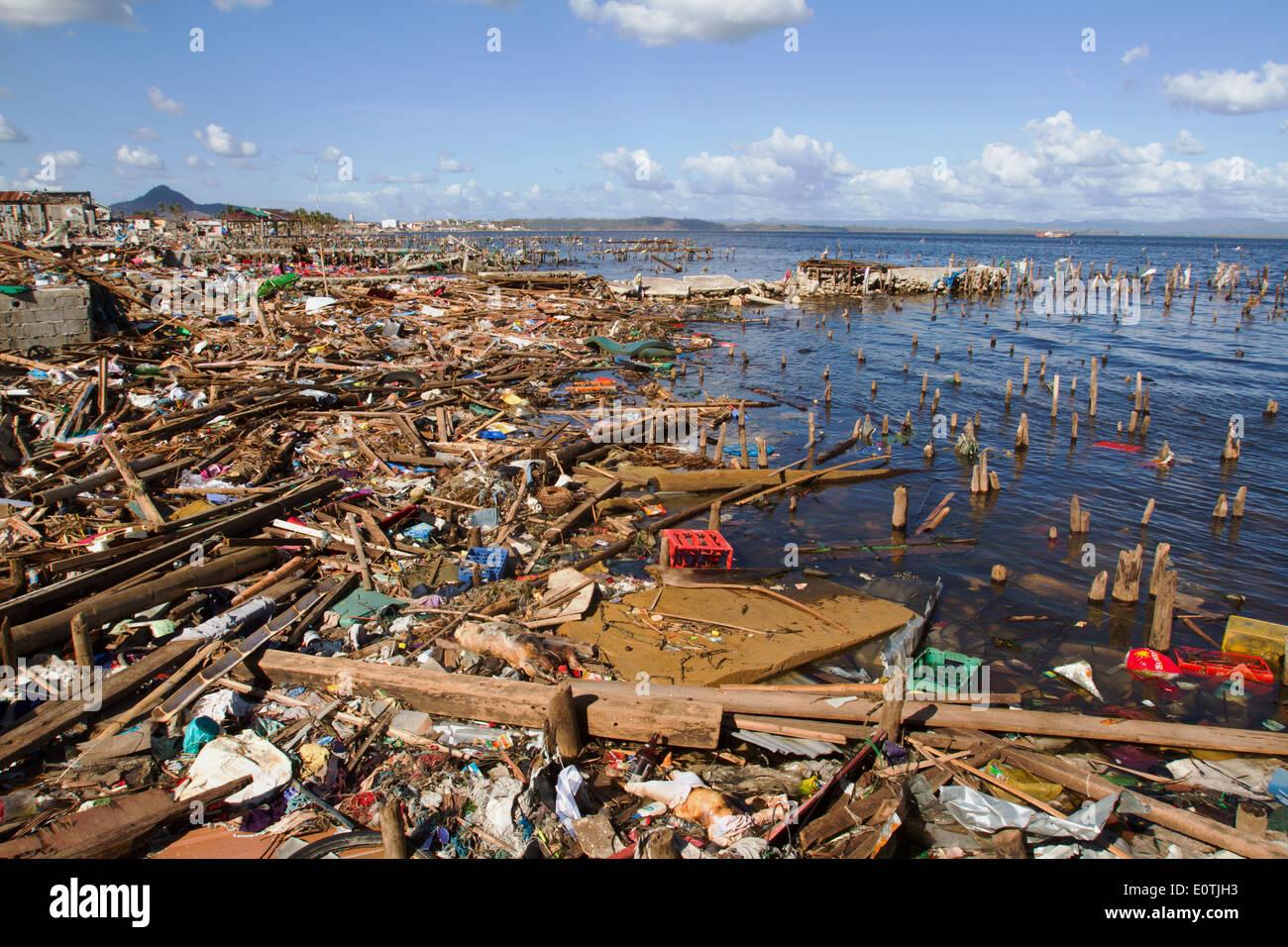 Abgeflachte Tacloban City nach Hurrikan Haiyan Philippinen Stockbild