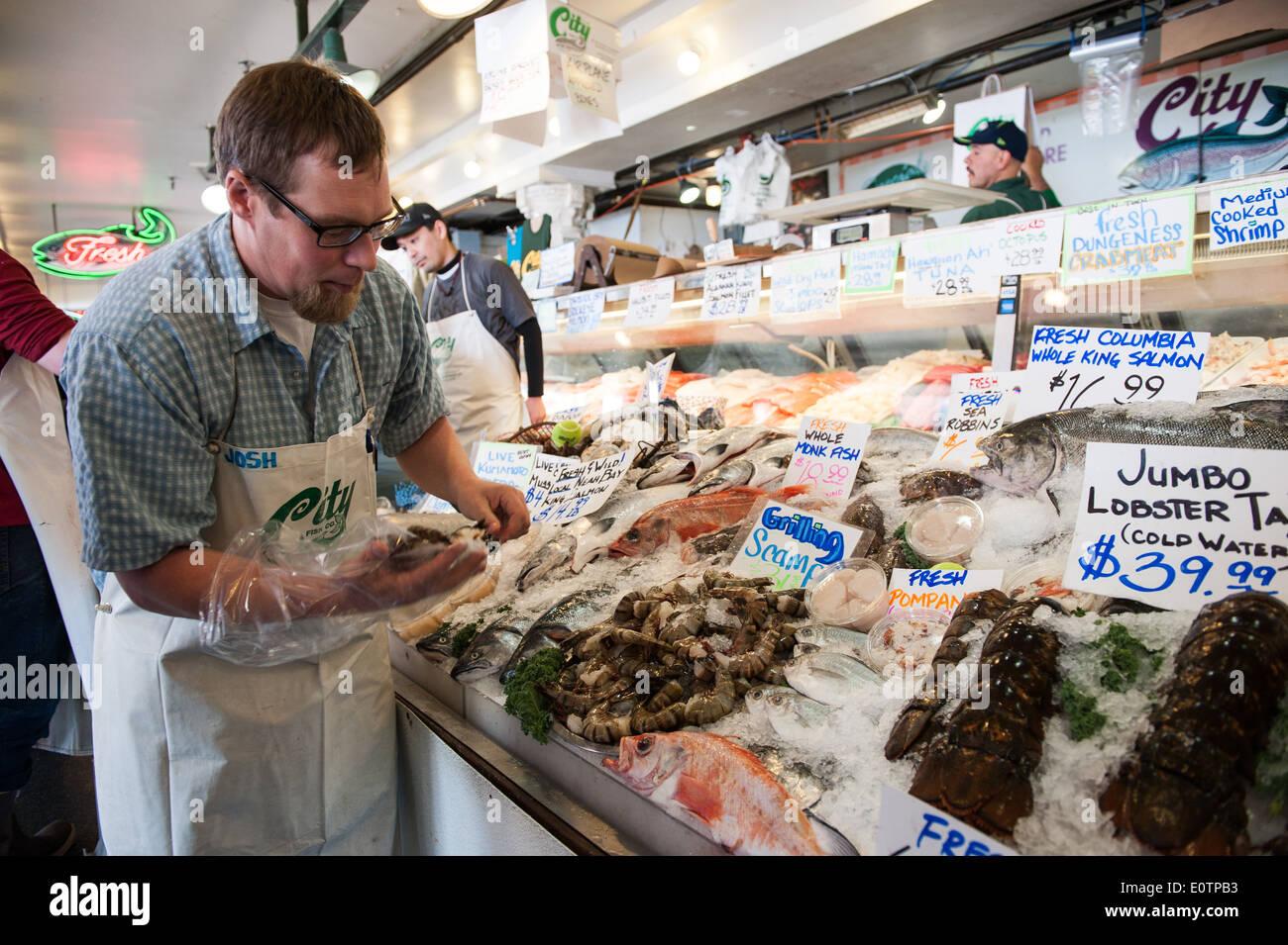 Seattle fish market stockfotos seattle fish market for Fish market seattle washington