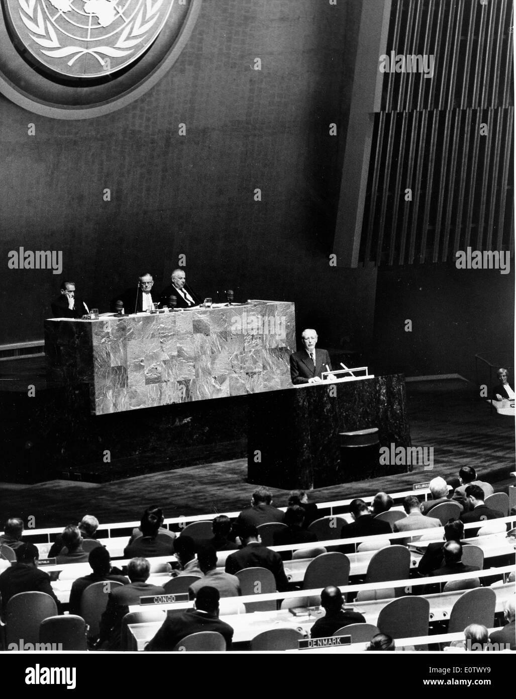 Harold Macmillan Tagung der UN-Generalversammlung Stockbild