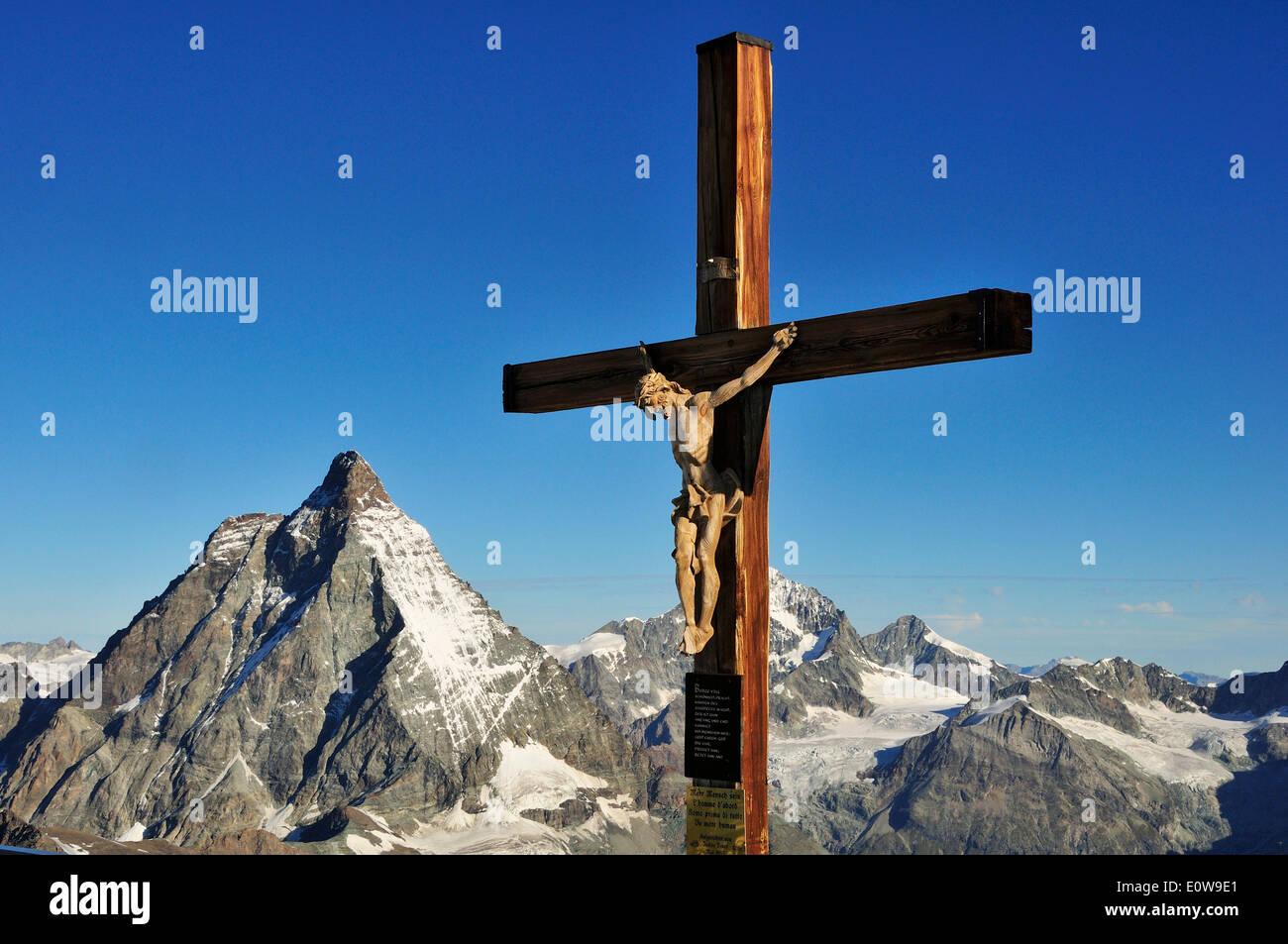 Kruzifix, Matterhorn 4478 m, Klein Matterhorn, Zermatt, Kanton Wallis, Schweiz Stockbild
