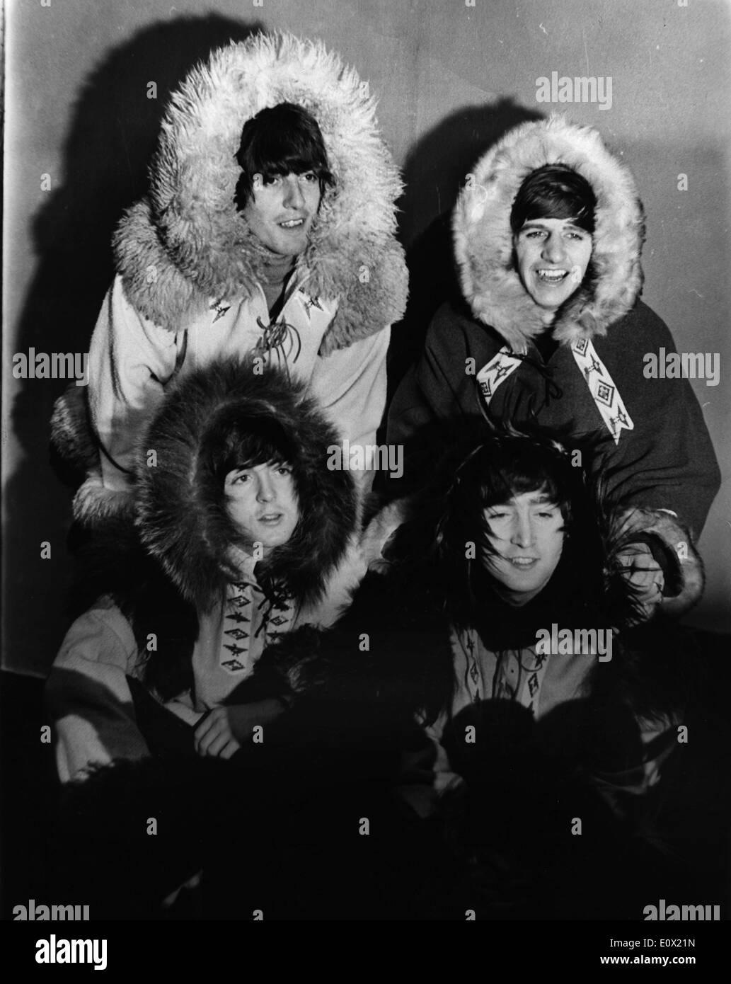 Die Beatles verkleidet als Eskimos Stockbild
