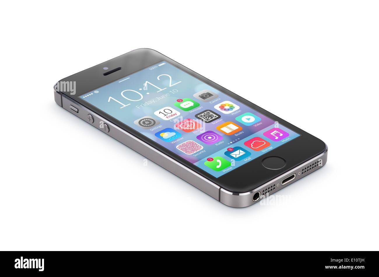 Schwarze moderne Smartphone mit flachen Bauweise Applikations-Icons auf dem Bildschirm liegt auf der Oberfläche isoliert auf weißem Hintergrund. Stockbild