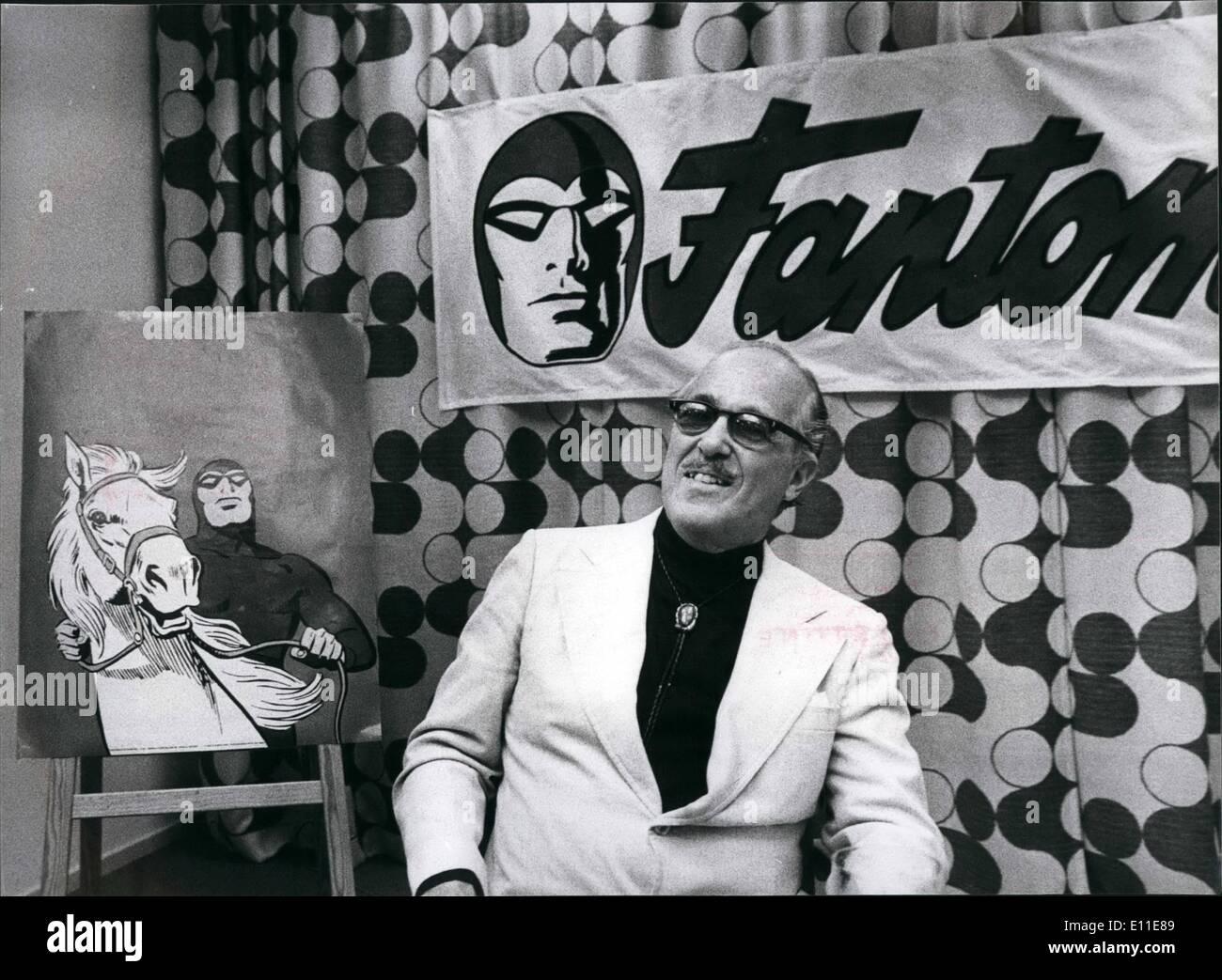 "Sept. 09, 1977 - Lee Falk, geistiger Vater des Comic-Helden '' Mandrake der Magier '' und '' das Phantom "": Stockbild"