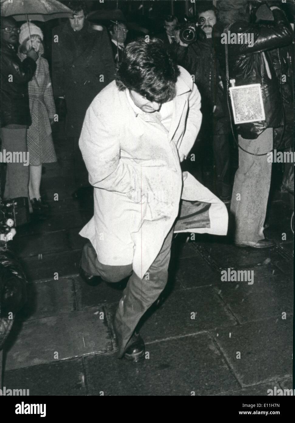 1. Januar 1978 - Rekonstruktion der Plo Ermordung: Ein junger arabischer Student spielte die Rolle der Geheimnis Stockbild