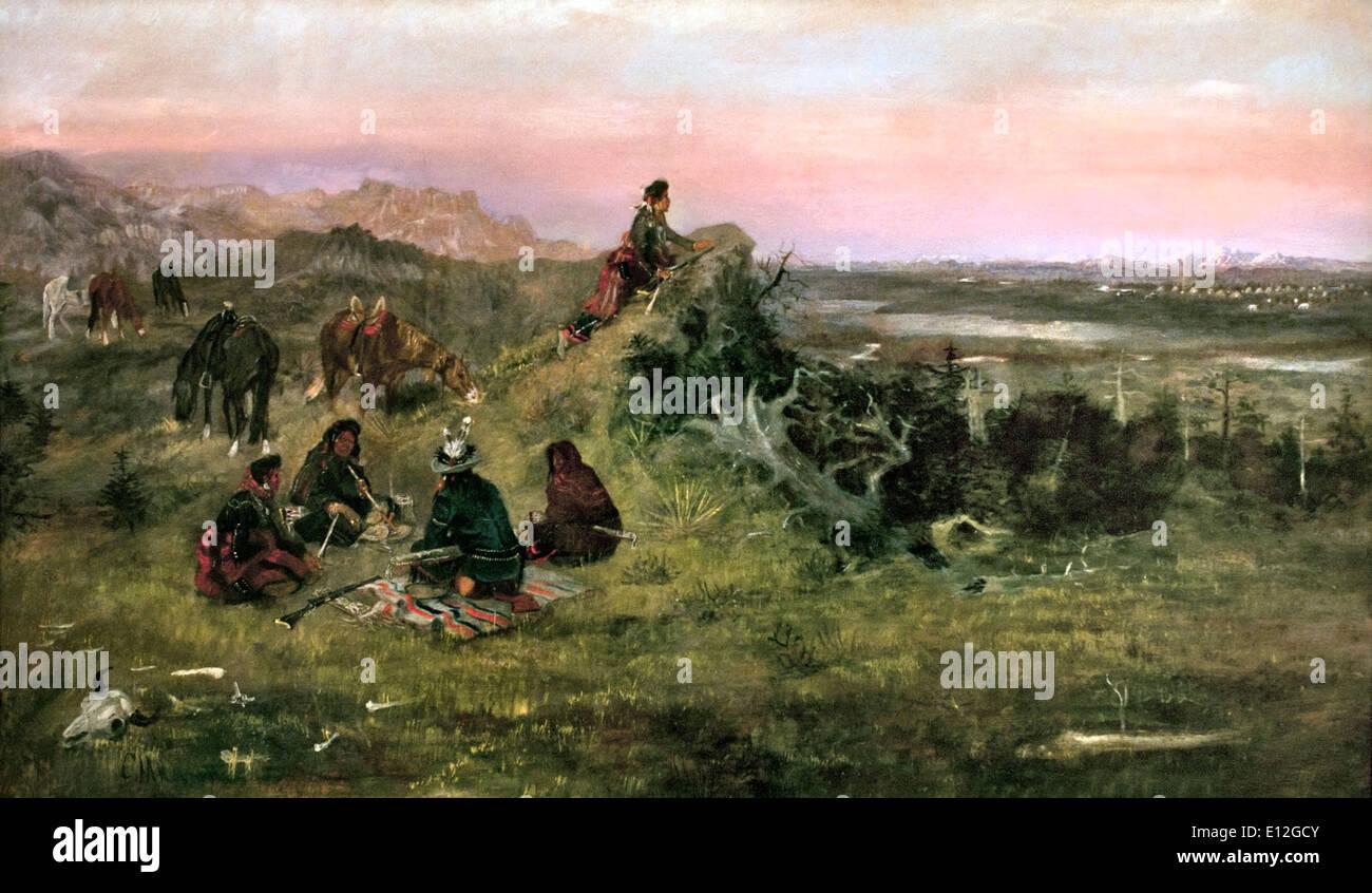 Die Piegans Pferde von den Krähen 1888 Charles Marion Russell 1864-1926 amerikanische Vereinigte Staaten von Amerika zu stehlen wird vorbereitet Stockbild