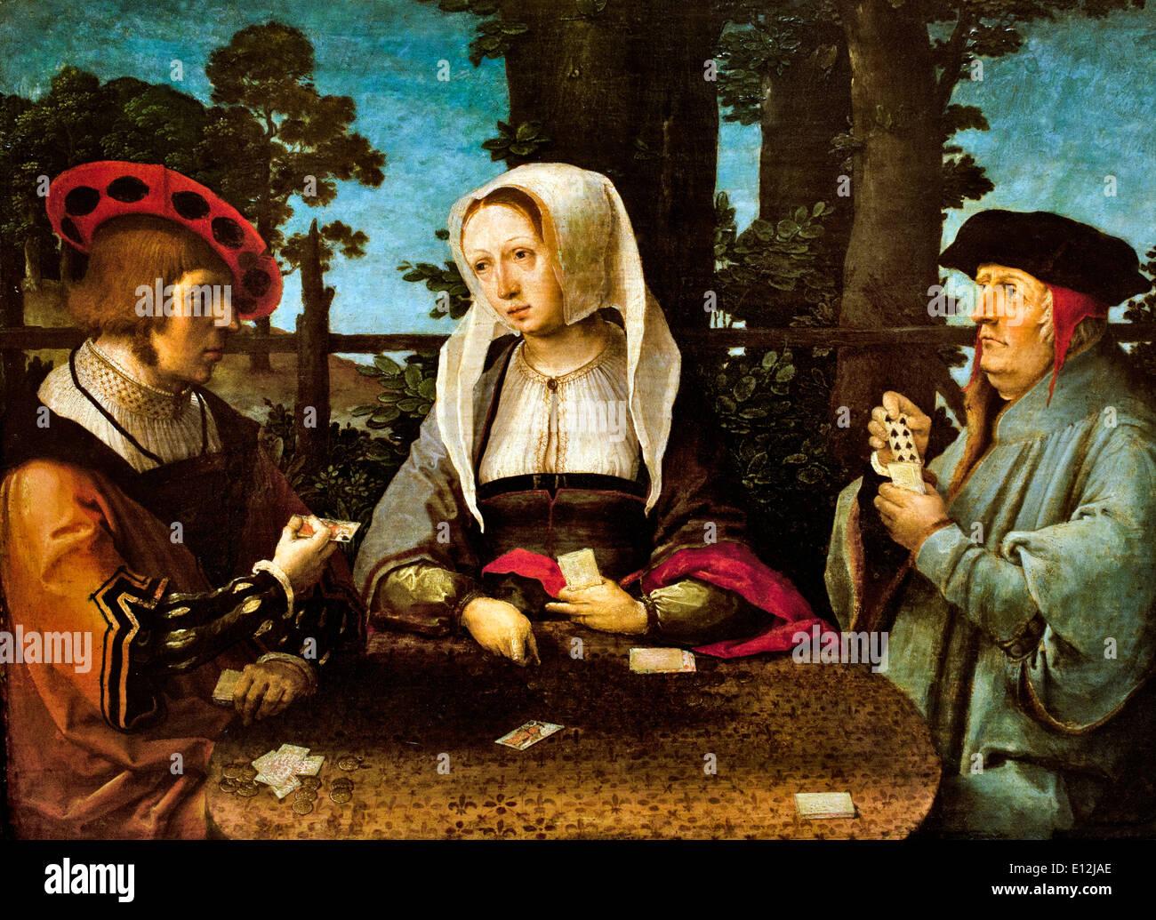 Die Karte Spieler 1520 Lucas van Leyden. Leiden1494-1533 Niederlande Niederlande Stockbild