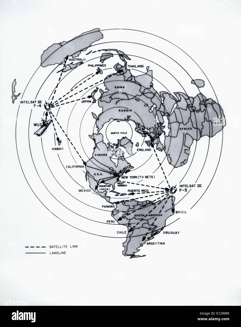 26. Februar 2012 - werden eine geschätzte 500 Millionen Zuschauer in 49 Ländern der Apollo 11 Wasserung, 24 Juli, Stockfoto
