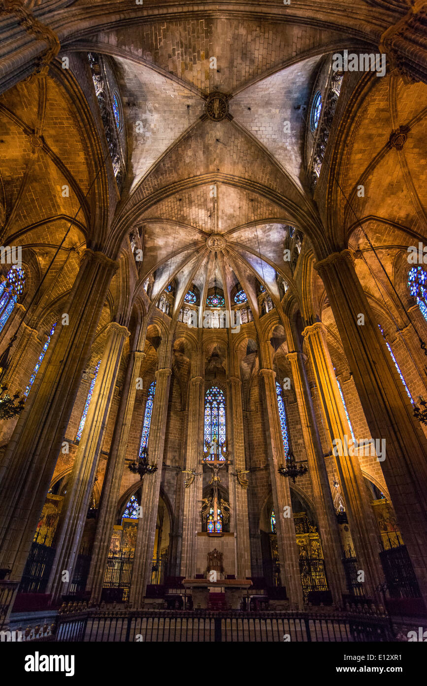 Im Inneren der Kathedrale von Barcelona Stockbild
